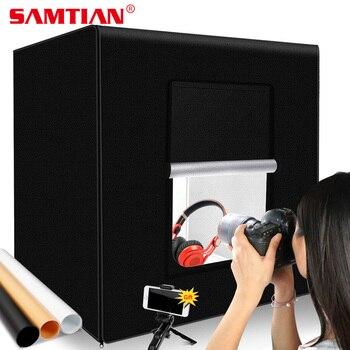 Caja de luz SAMTIAN 60*60cm caja de luz portátil caja de luz con 3 colores de fondo para joyería juguetes fotografía luces LED caja de fotos