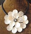 Charming white sea shell flower black clear crystal Necklace leather
