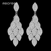 2016 Top Crystal Silver Plated Bridal Jewelry Leaves Drop Long Earrings For Women Wedding Accessories EH593