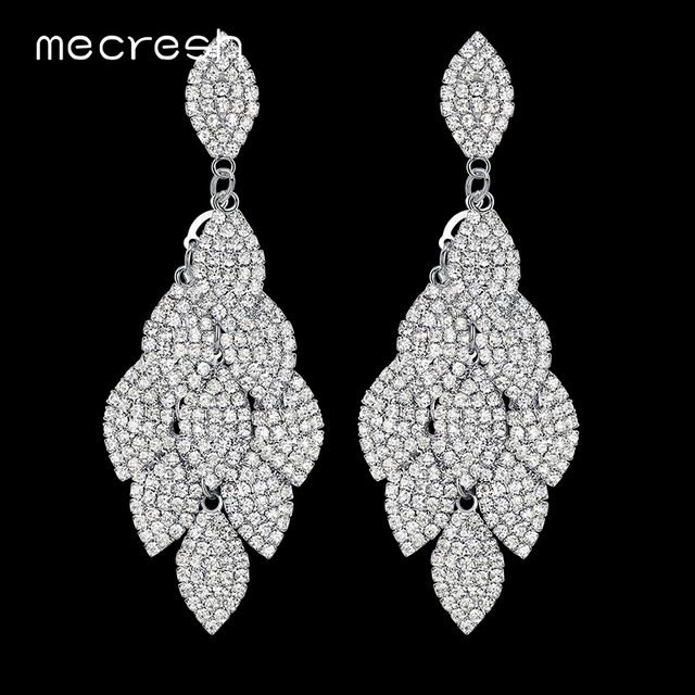 Mecresh Crystal Wedding Long Earrings Silver Color Leaf Shape Rhinestone Bridal Bridesmaid Party Prom Jewelry
