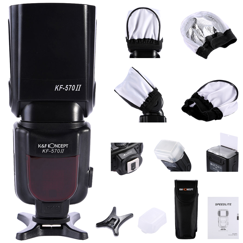 KF-570 II wireless camera Flash Speedlite For Canon 6D 5D2 5D3 700D 650D for Nikon D750 D800 for Pentax for Olympus meike mk d750 battery grip pack for nikon d750 dslr camera replacement mb d16 as en el15 battery