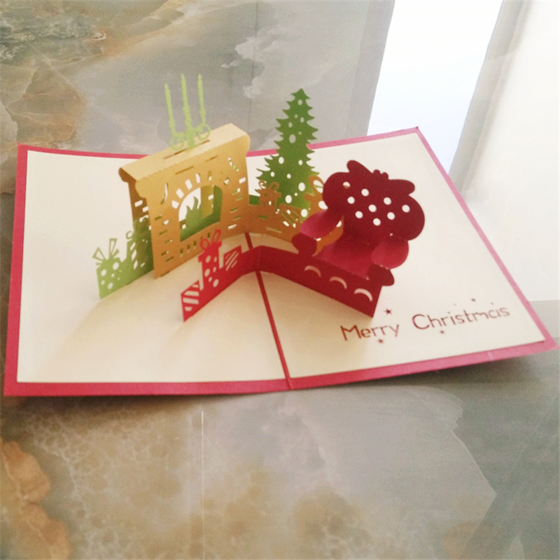 3D Laser Cut Christmas Greeting Card Pop up Xmas Party Invitation ...