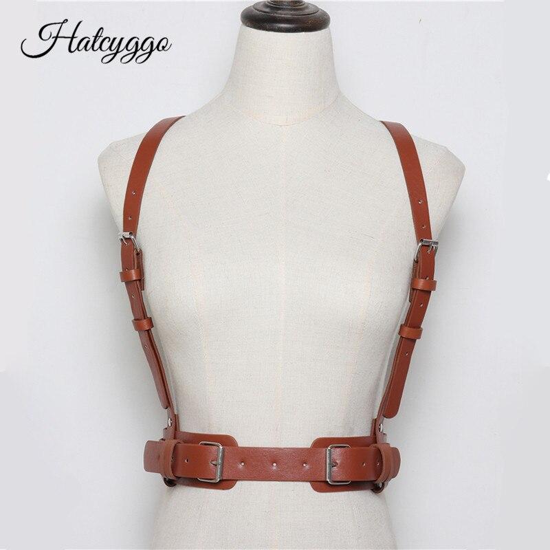 HATCYGGO Sexy Women Leather Harness Belts Adjustable Metal Buckle Waistband PU Straps Harness Body Bondage Female Waist Belt