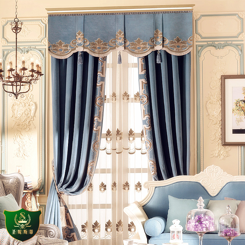 Custom Curtain Luxury High-grade Retro European Court Thick Blue Flannel Embroidery Cloth Blackout Curtain Valance Tulle E982