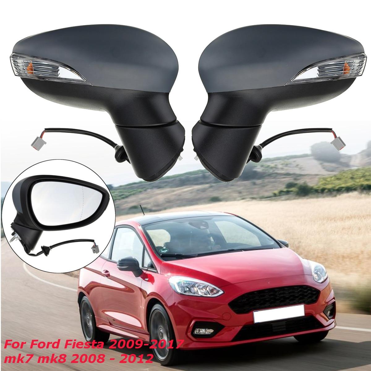 Rétroviseur de voiture à aile électrique de porte côté conducteur ou passager chauffé avec lumière Singal tournant pour Ford pour Fiesta 2009-2017