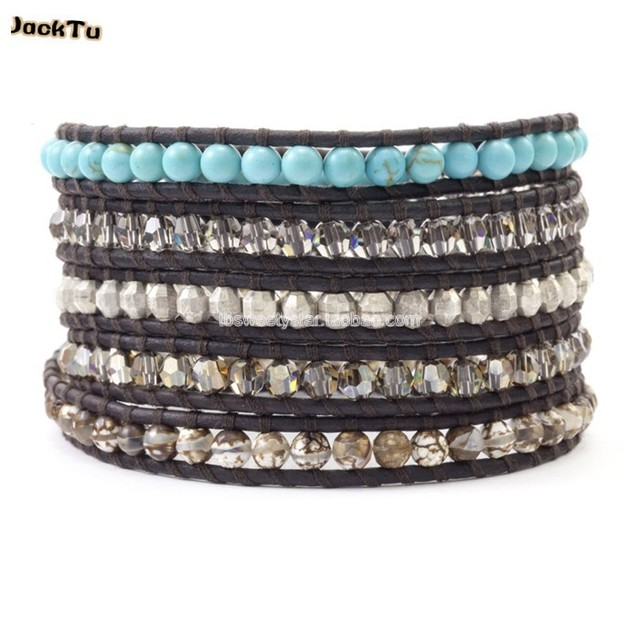 2017 turquoise and crystal slver laser beads mens and women leather wrap bracelets