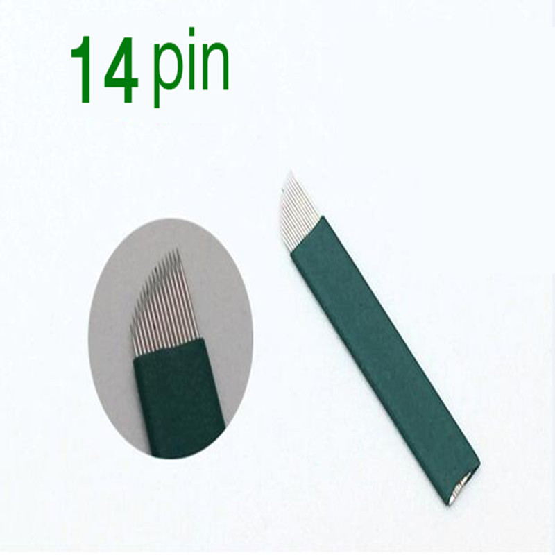 50PCS/Pack 14 Pin 0.18 Mm Permanent Makeup Blade  Microblading Needles For 3D Embroidery Manual Tattoo Pen