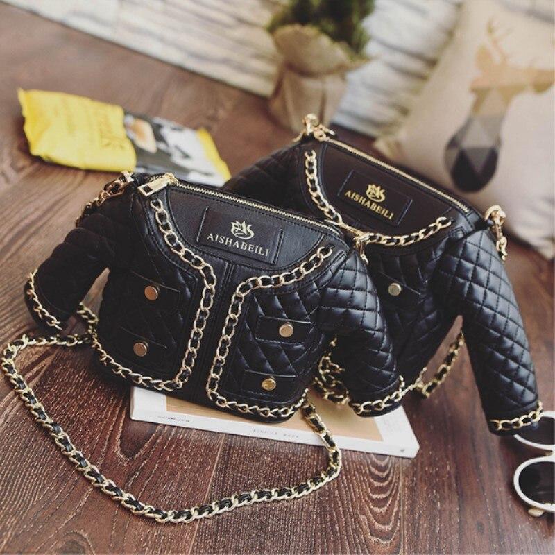 2017 fashion personalized women's creative jacket bag black color coat shaped novelty suit diamond lattice chain mini handbag карабин black diamond black diamond mini pearabiner screwgate