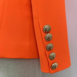 Image 5 - HIGH QUALITY Newest 2020 Designer Blazer Womens Lion Buttons Double Breasted Blazer Jacket Neon Orange