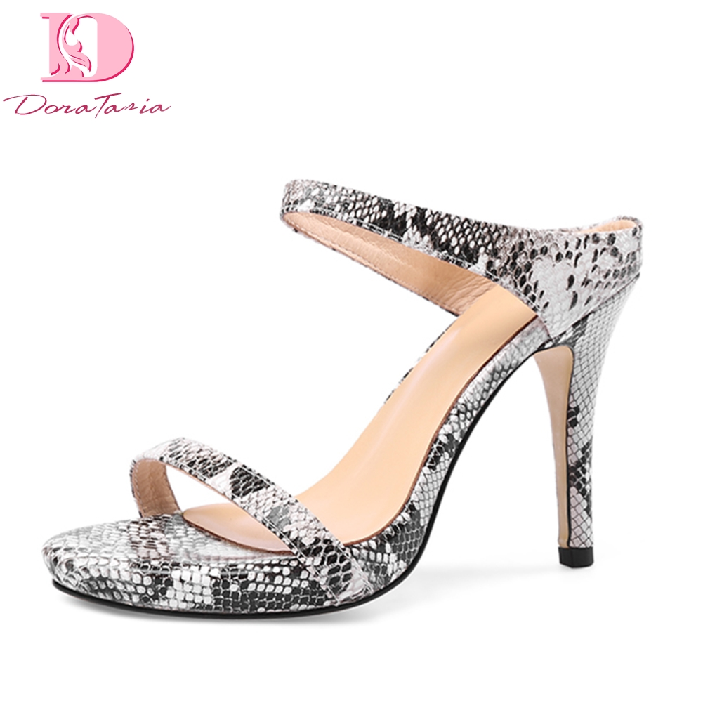 DoraTasia 2019 Genuine Leather Snake Print sheepskin High Heels Summer Mules Pumps Woman Shoes Sexy Party