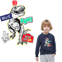 Jurassic dinosaur patches for clothing iron on transfer stickers clothes transfert thermocollants t-shirt diy