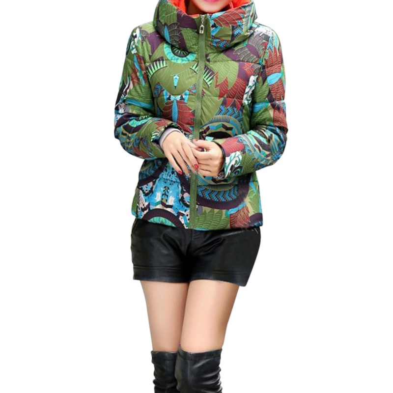 2017 Winter Jacket Print Wadded Women Without Hooded casacos de inverno feminino Green Parka Jacket Women men without women