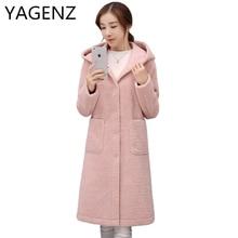 YAGENZ New Fashion 2017 Winter Hooded Jacket Coat Women Korea Loose Solid Thick Warm Lady Coat Medium-long Casual Tops Plus Size