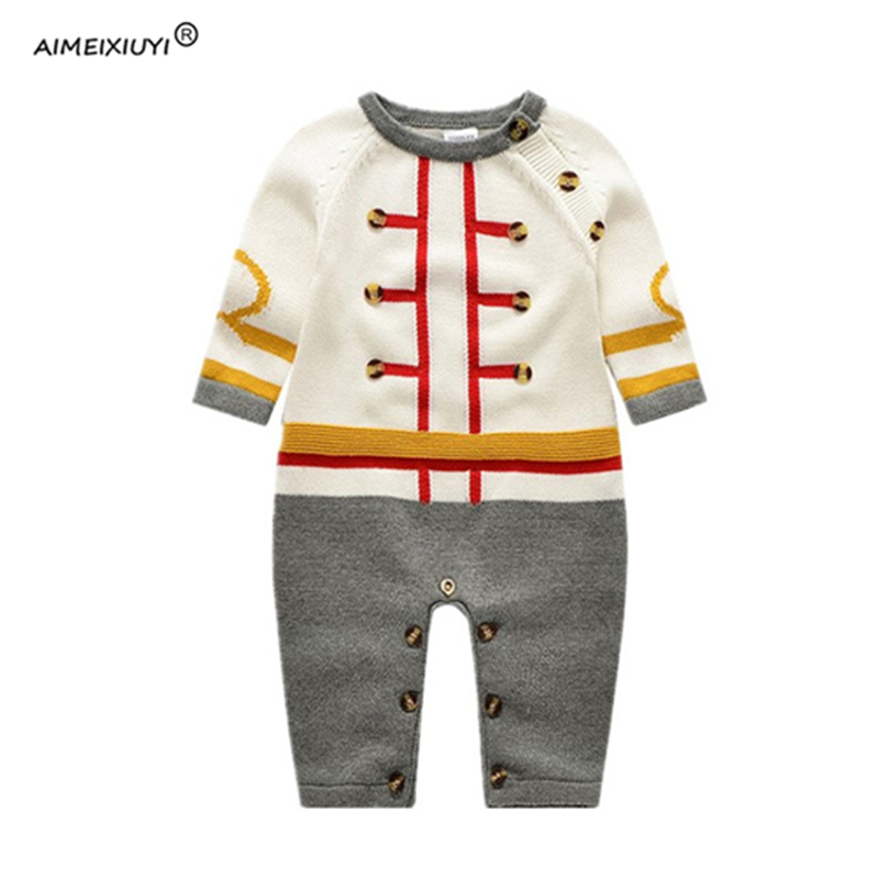 2017 Autumn New Baby Clothes Handsome Boys Long Sleeve Cotton Knitted Romper Jumpsuit for Kids Overalls 3-24M nnw autumn new baby boys clothes 3pcs