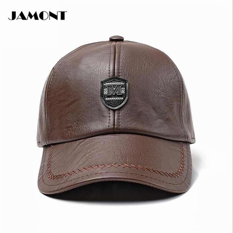 JAMONT Adjustable Winter Golf Hat Windproof Cap With Earflaps PU Leather  Mens Comfortable Warm Golf Hats 3 Colors -in Golf Caps from Sports    Entertainment ... 0b63fbdda4a