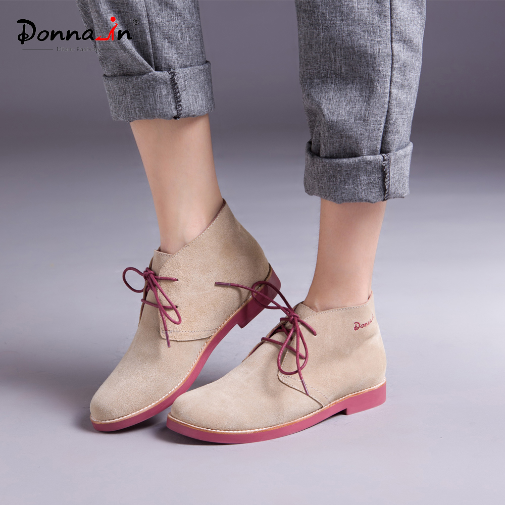 Donna-in Ankle Boots for Women Genuine Leather Summer Ladies Shoes Booties Woman 2018 Lace up Plus Size Flat Brand Martin Boots