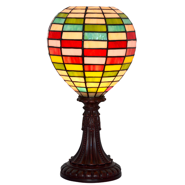 Stained Glass Globe Hot Air Balloon Resin Office Farmhouse Kids Bedroom  Bedside Desk Small Table Lamp