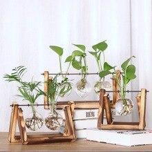 Винтажные цветочные вазы, креативные Гидропонные растения, прозрачная ваза, деревянная рамка, кофейная комната, стеклянные настольные растения, домашний декор бонсай