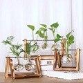 Винтажные цветочные вазы  креативные Гидропонные растения  прозрачная ваза  деревянная рамка  кофейная комната  стекло  настольные растени...