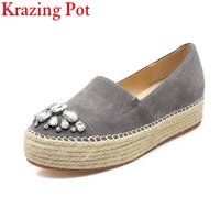 2018 New arrval genuine leather brand shoes round toe Straw loafers flat sweet crystal platform diamond women causal shoes L7f2