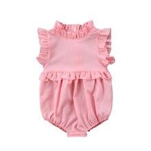 Комбинезон с оборками для новорожденных девочек; шифоновые летние детские ромперы без рукавов; наряд комбинезон