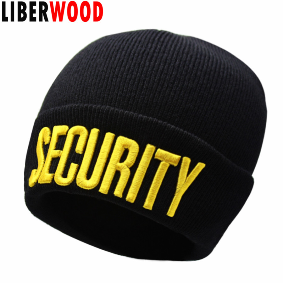 09be5f07c0517 Detail Feedback Questions about LIBERWOOD Black SECURITY beanie Skull Watch  Cap Security Doorman Cops Guard Club Bouncer Men Winter Knitted beanie hat  cap ...