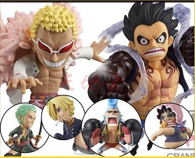 NEW hot 8cm 6pcs/set One piece luffy sanji Roronoa Zoro Donquixote Doflamingo collectors action figure toys Christmas with box new hot 12cm one piece boa hancock monkey d luffy modelling action figure toys collection doll christmas gift with box