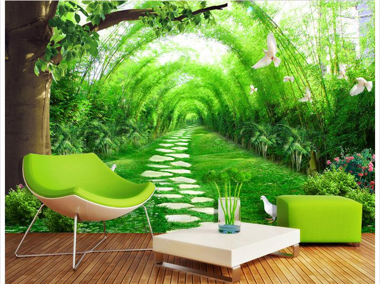 Customized 3d photo wallpaper 3d wall murals wallpaper for Bamboo forest wall mural