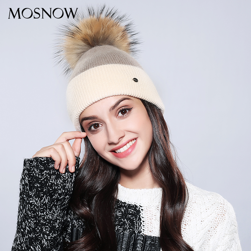 Winter Hat Pompom Mixed-Color Beanies Raccoon-Fur Skullies Knitted Female Women Wool