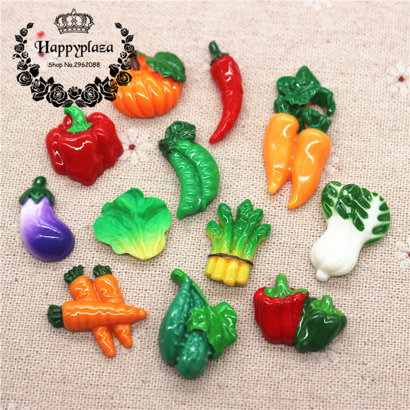 10pcs Cute Resin Various Vegetables Simulation Miniature Food Art Flatback Cabochon DIY Craft Decoration