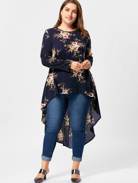 011de107bac Gamiss Plus Size Floral Print High Low Hem Blouse Shirt Women Clothing Long  Sleeve Asymmetrical Chiffon Loose Tops Blusas 5XL