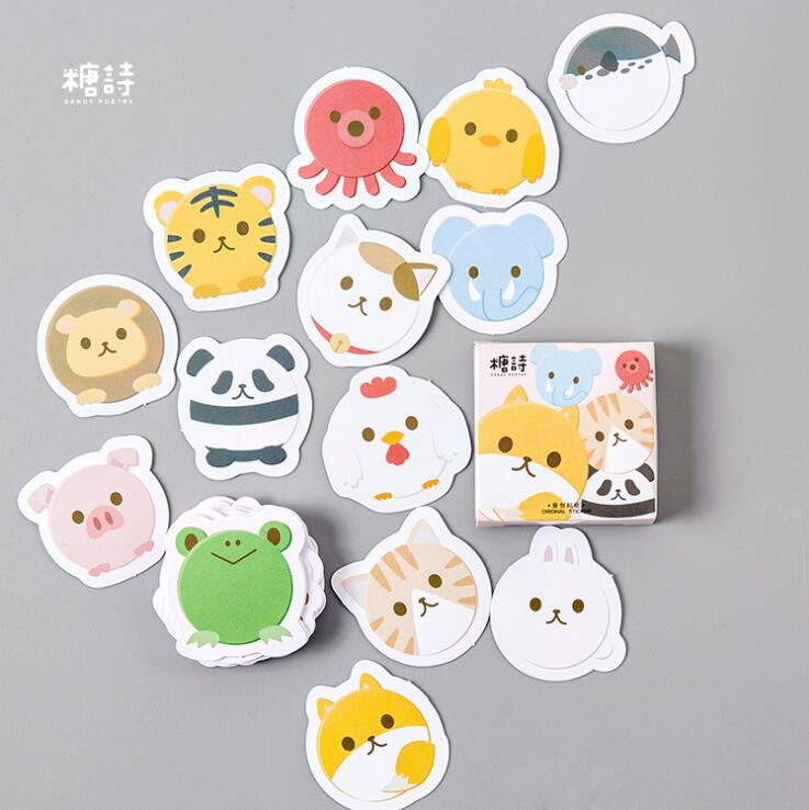 Lovely Roll Animal Label Stickers Set Decorative Stationery Craft Stickers Scrapbooking DIY Diary Album Stick Label spring and fall leaves shape pvc environmental stickers decorative diy scrapbooking keyboard personal diary stationery stickers
