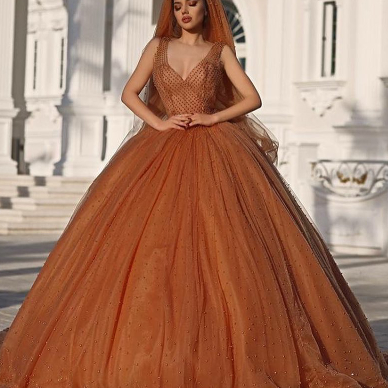 Popular Orange Ball Gown Prom Dresses-Buy Cheap Orange Ball Gown ...