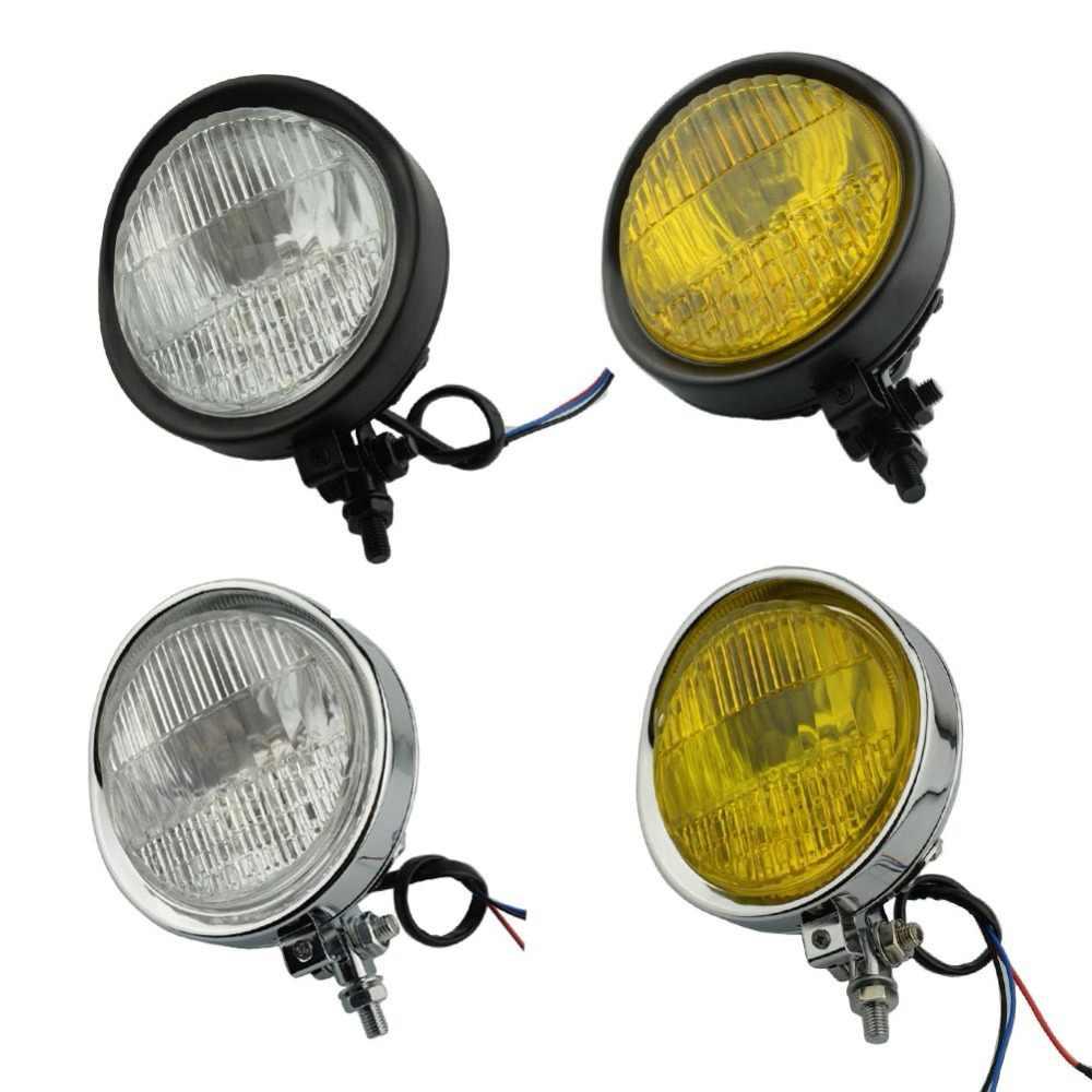 Black Bronze Amber 5.75 Custom Halogen Motorcycle Bottom Mount Headlight Spotlight w//Grill
