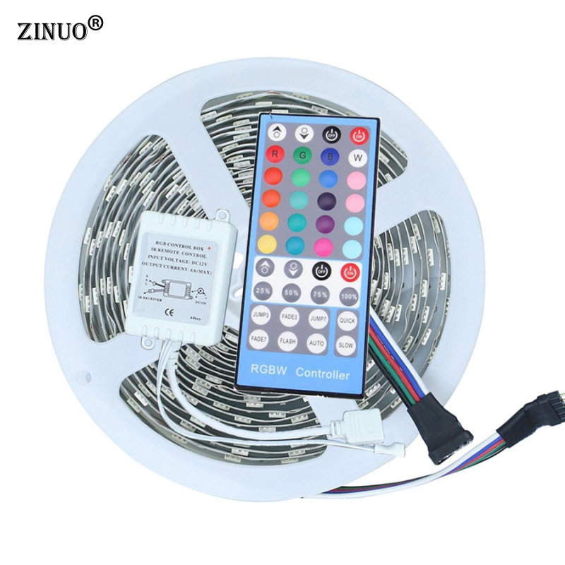 ZINUO 5M RGBW LED strip Light 5050 300Leds With 40key 5 Pin RGBW Remote Controller Non-Waterproof Flexible Led Tape RGBW RGBWW 10pcs 5 pin led strip wire connector for 12mm 5050 rgbw rgby ip20 non waterproof led strip to wire connection terminals