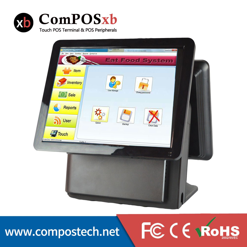 High Quality Compos Touch 15 Inch Touch Screen Pos System All In One Pc With Touch Screen Monitor Double Screen Display 6 PCS цена
