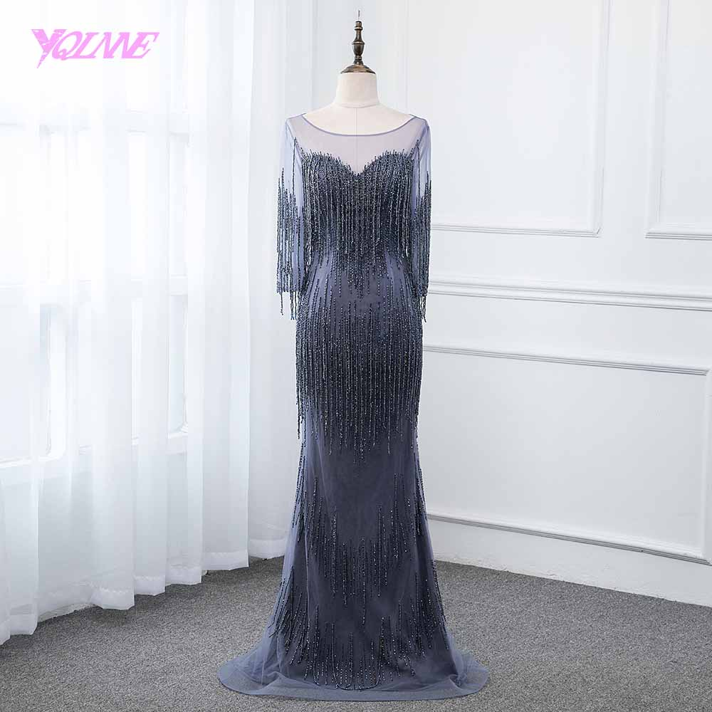 YQLNNE Navy Blue   Evening     Dress   2019 Long Sleeve Mermaid Beading Formal Gown   Dresses   Robe de Soiree Pageant   Dresses