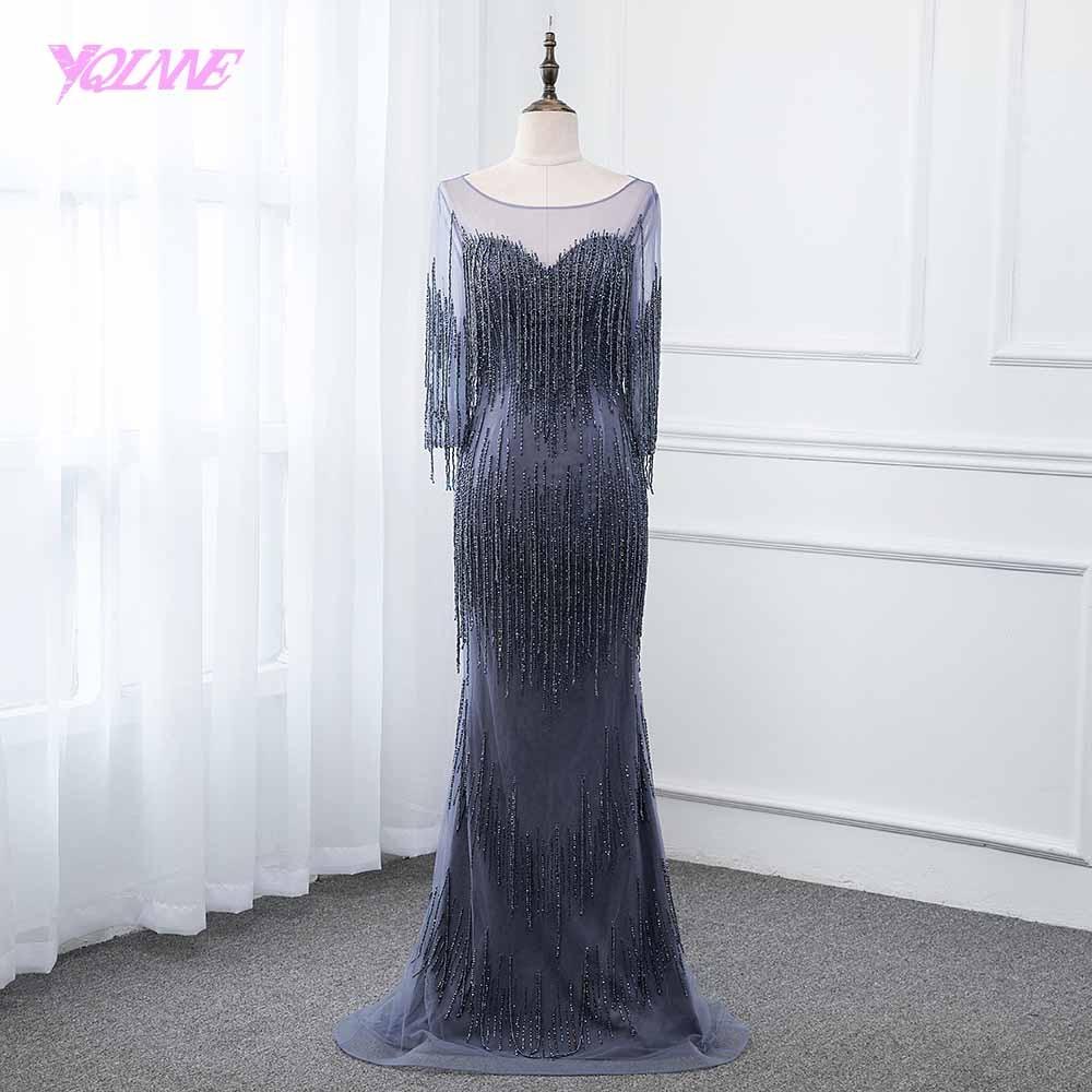 YQLNNE Navy Blue   Evening     Dress   2019 Long Sleeve Mermaid Beading Formal Gown   Dresses   Robe de Soiree Pageant   Dresses
