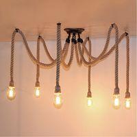 Lukloy пеньковая веревка Паук Люстра кухонный светильник светодиодный светильник подвесная потолочная лампа лампы подвесные светильники для