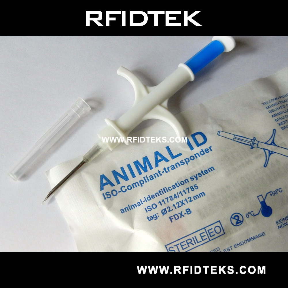 RFID Microchip syringe with transponder Glass Tag 2.12x12mm FDX-B ICAR number ISO11784 ISO11785 134.2KHZ with EM4305 Chip