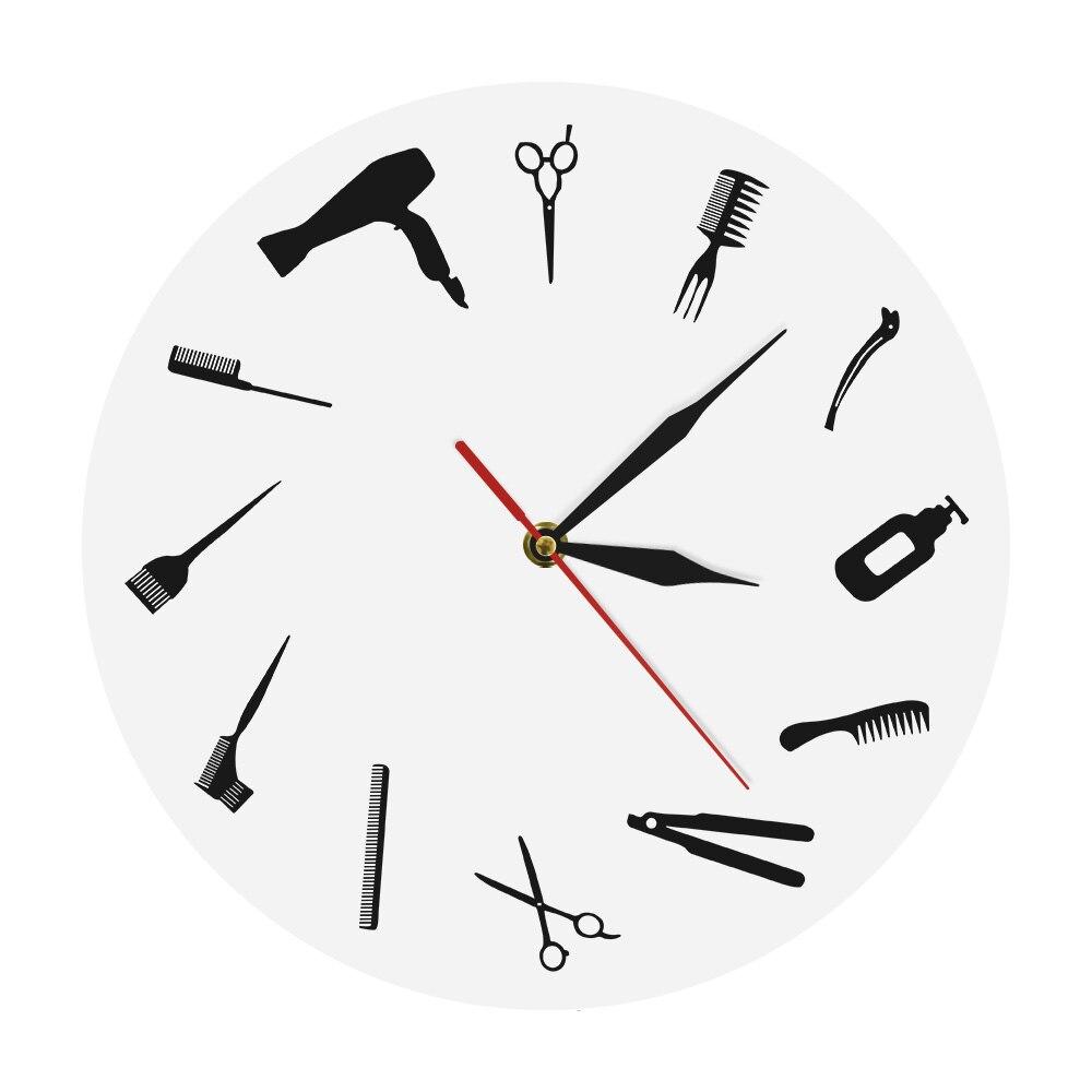 Barber Shop Business Wall Sign Barber Equiment Wall Art Decor Clock Hair  Hair Stylist Tools Beauty Salon Modern Wall Clock