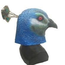 Hot Selling New Latex Animal Realistic Peacock Bird Cosplay Fancy Dress Carnival Party Masks Halloween Mask Custom