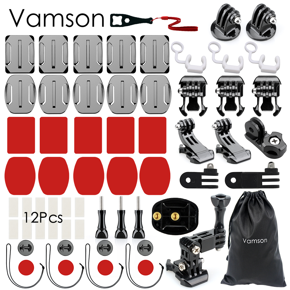 Vamson for Gopro Hero 5 Accessories Kit practical Adapter Mount For Gopro Hero 5 4 3 for Xiaomi for SJCAM VS90 miniisw m ac universal curved surface mount kit for gopro hero 4 3 3 hero2 hero sj4000 black