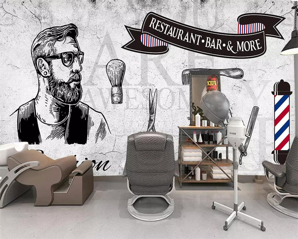 Beibehang Custom Wallpaper 3d Mural Personality Retro Cement Wall Nostalgic Tide Male Hair Salon Shop Background Wall Painting Aliexpress