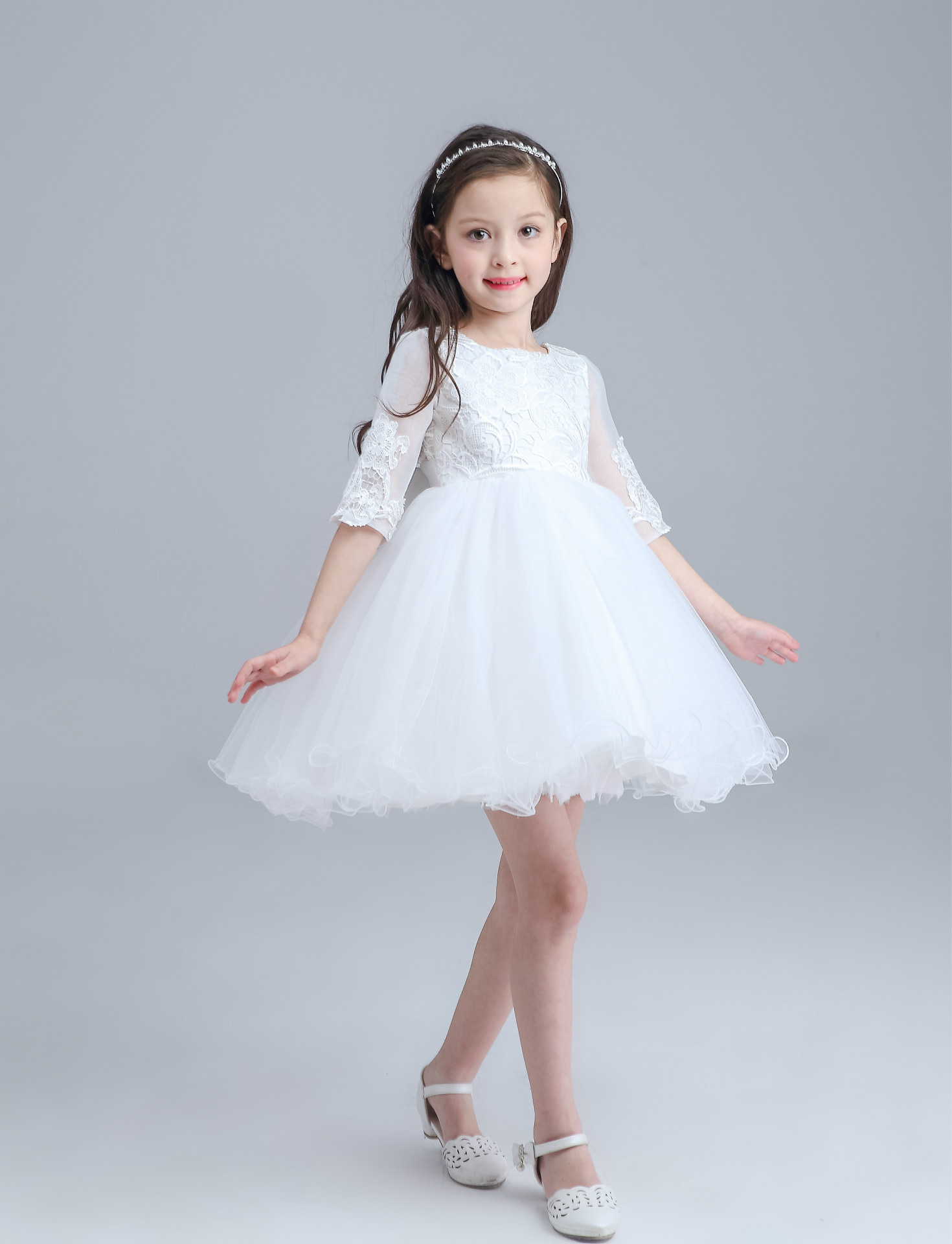 White Mini Formal Baby Girl Dress Half Sleeve Christmas Baby Girl ...