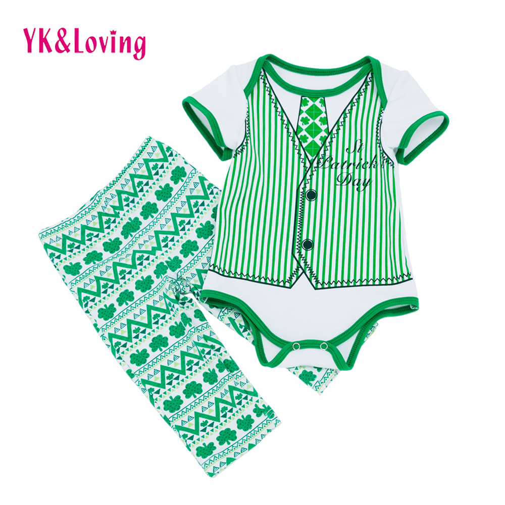 Green Saint Patrick's Day Irish Gentleman fake two Infant Baby Boy Girl Clothes Romper Pants Four-leaf clover Boys Clothing Set baby boy girl clothes romper pants