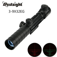 3 9x32EG Tactical Rifle scope Red&Green Dot Illuminated Reticle Optic Sight Airsoft Hunting Scopes with Free Lens Cover