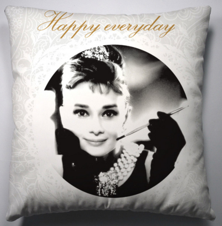 Vintage Audrey Hepburn Flower Pop Art Pillow Case Decorative Cushion Cover Sham pop art audrey hepburn pattern square shape cushion cover