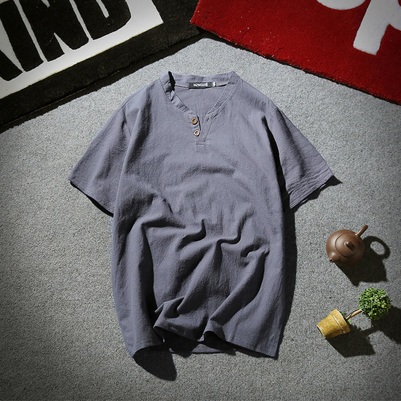 Mens Pullover Linen Shirts Short Sleeve Summer Breathable Mens Quality Casual Shirts Slim fit Solid Cotton Shirts Men m-5xl 1