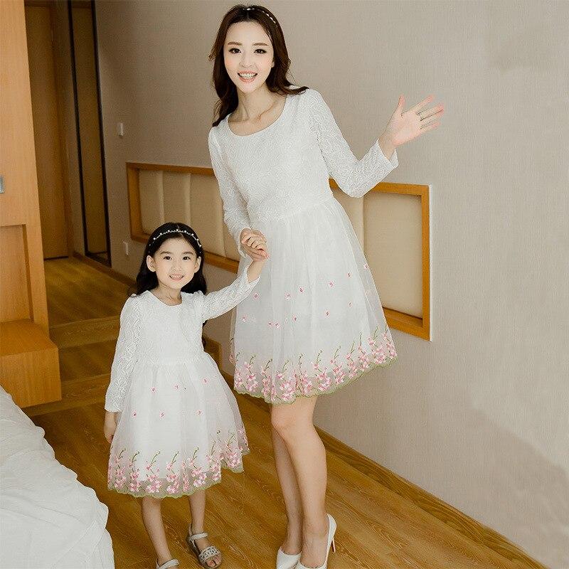 Corée Style mère fille robes mignon dentelle famille Look correspondant tenues enfants vêtements maman et fille bébé filles robe GH207